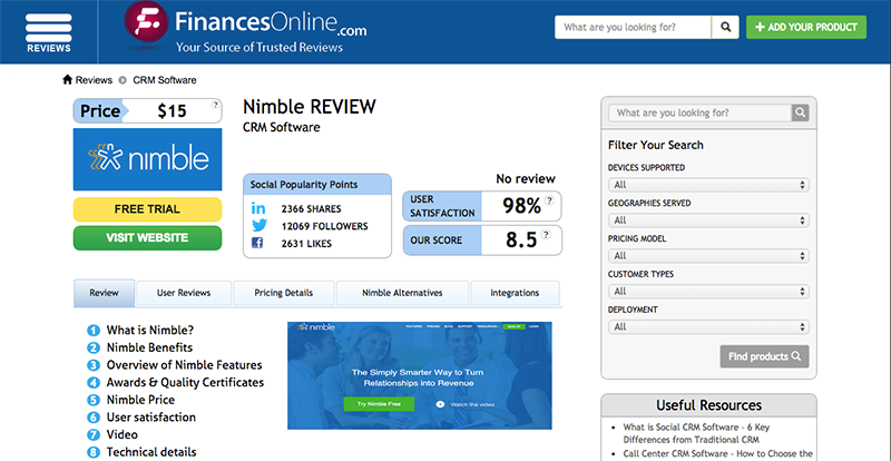 Here's how a product review looks like on FinancesOnline.com