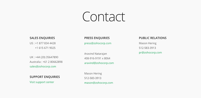 Here's how Zoho clearly displays their contact details