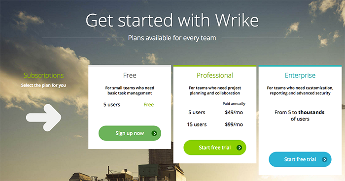 Wrike's pricing page is clear and simple