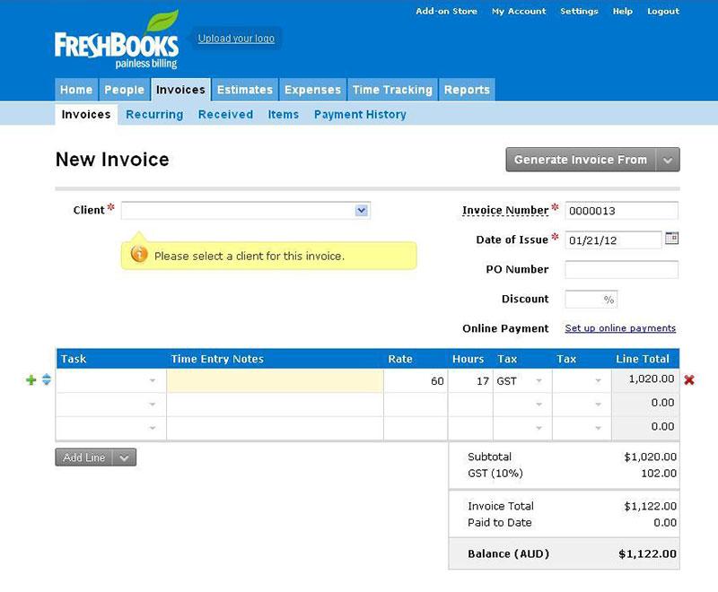 Sample invoice panel in FreshBooks